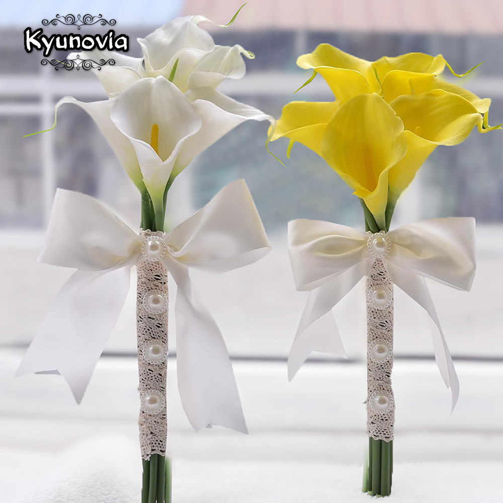 Silk Wedding Bouquet Bridesmaids Bouquet Calla Lily Wedding Bouquet Flower Girl Bouquet Small Wedding Bouquet Real Touch Bouquet
