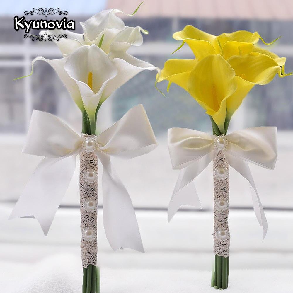 Aktiv Kyunovia Real Touch Gelb Calla Lilie Zauberstab Für Brautjungfer Blume Mädchen Andenken Mini Blume Zauberstab Hochzeit Bouquet Braut D03