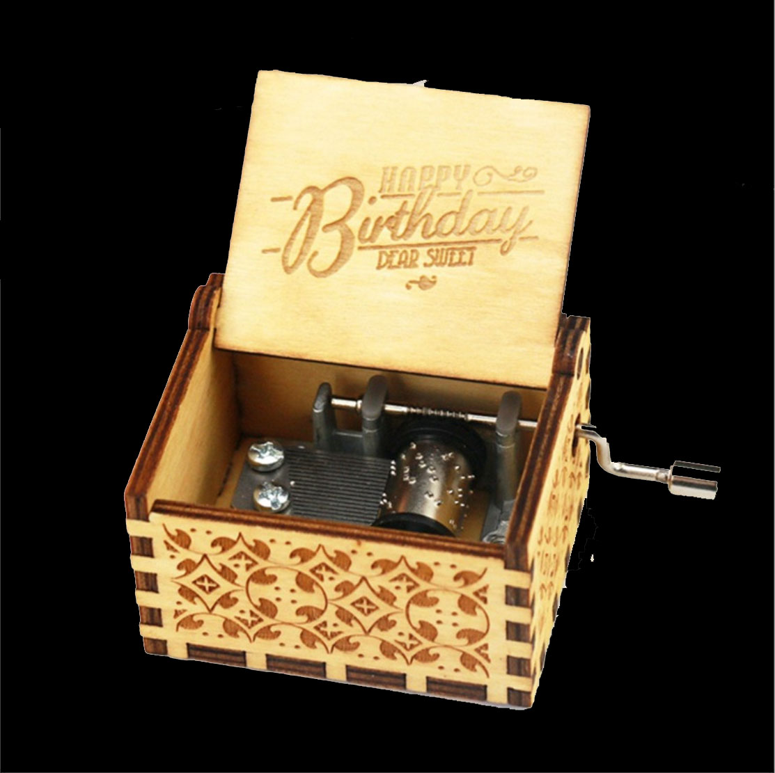 Wooden Hand cranked Music Box 39 Pink Panther 39 Theme Music Nostalgic Classic in Music Boxes from Home amp Garden