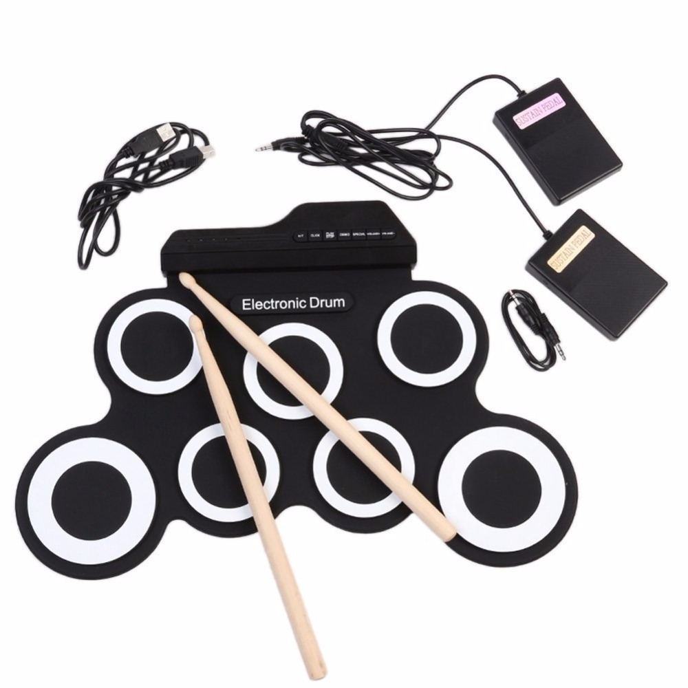 Stereo Digital Electronic Drum Portable Roll Up Drum Kit 7 Silicon Drum Pads Built-in Double Speakers USB Powered Foot Pedal cherub drum tuner accurate built in rechargeable battery mic pick up for snare drum jazz drum set kit high sensitivity
