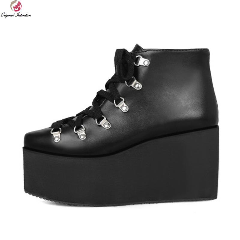 Original Intention Super Fashion Women Ankle Boots Charm Pointed Toe Wedges Boots Nice Black Shoes Woman