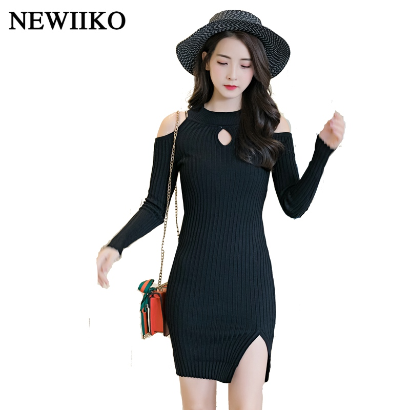 Fashion Spring Autumn women sexy O-Neck Off Shoulder Casual bodycon Solid color stripe long Sleeve Knitted mini Sweater dress sweet off the shoulder long sleeve bodycon sweater dress for women