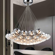 Modern Led Glass Pendant Lights For Living Dining Room Bedroom Home Dec Chrome Glass G4  AC85-265V Hanging Pendant Lamp Fixtures pendant lamp glass hanging led glass lights hand blown glass shade for dining living room bedroom salon senior clubs dh8611