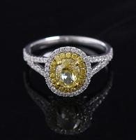 Luxury Ictoria Wieck Engagement Princess Cut 1 Carat Yellow Diamond Ring Oval Fancy Colored Diamond Wedding