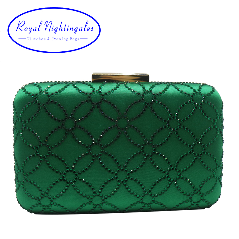 Royal Nightingales Large Crystal Evening Clutch Bag And Evening Bags For Womens Purses Handbag Emerald Green Navy Blue