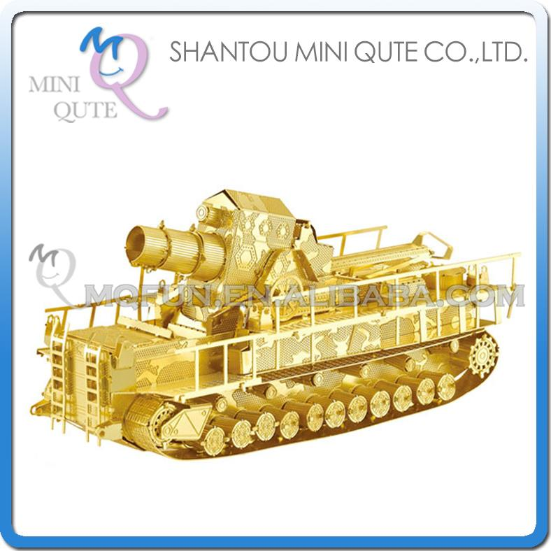 Mini Qute 3D Metal Puzzle Golden Railway Gun Tank warcraft military Adult kids model educational toys gift NO.I22213-1 - Flying Fairy Flagship Store store