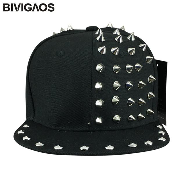 a375f34b557 New Women Punk Style Half Side Rivets Hip Hop Cap Baseball Caps Swag Black Snapback  Caps Sun Hats For Women Men Gorras Planas