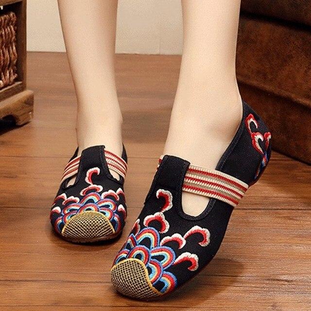 Вышивка Облачно Выдалбливают Slip On Холст Старинные Плоские Туфли Весна Осень Новый Ретро Стиль Женская Обувь Вождения Мокасины Zapatos