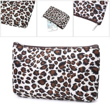 Sexy Ladies Leopard Print Women Travel Cosmetic Bags Toiletry Wash Organizer Fashion Zipper Makeup Bags(China)