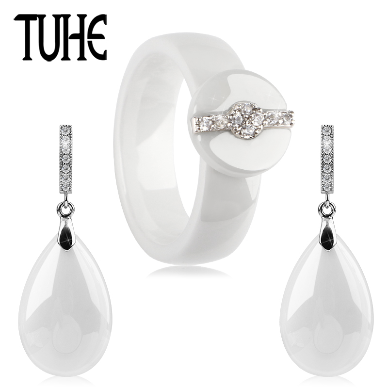 TUHE 2018 New White Ceramic Solid Water Drop Earrings And Round Rhinestone Buckle 6MM Rings Women Engagement Wedding Jewelry Set