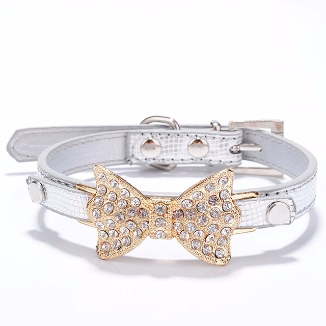 7d59052536ca 2018 New Bling Rhinestone Dog Collar Sparkly Crystal Bow Tie Dogs Cat  Collars Bowknot Diamonds Collars for Pets Kitten Puppy#30