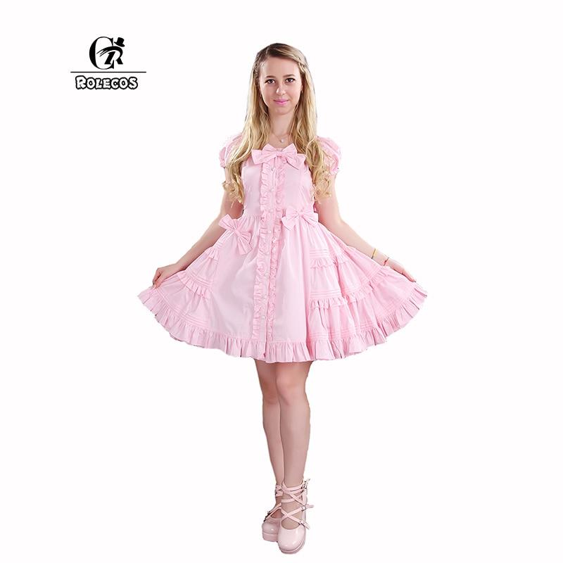 Rolecos nuevo mujeres Lolita vestido de color rosa manga corta ...