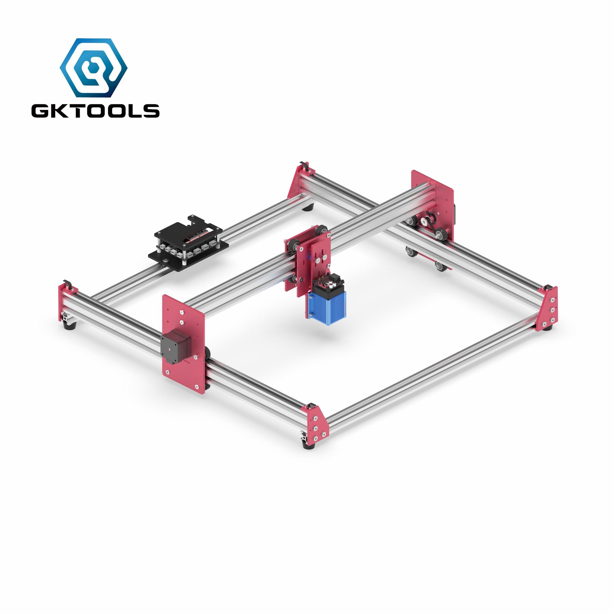 Gktools 45*45cm todo o metal diy hobby mini cnc 7500 mw de madeira cortador gravador a laser máquina gravura pwm, benbox grbl eleksmaker