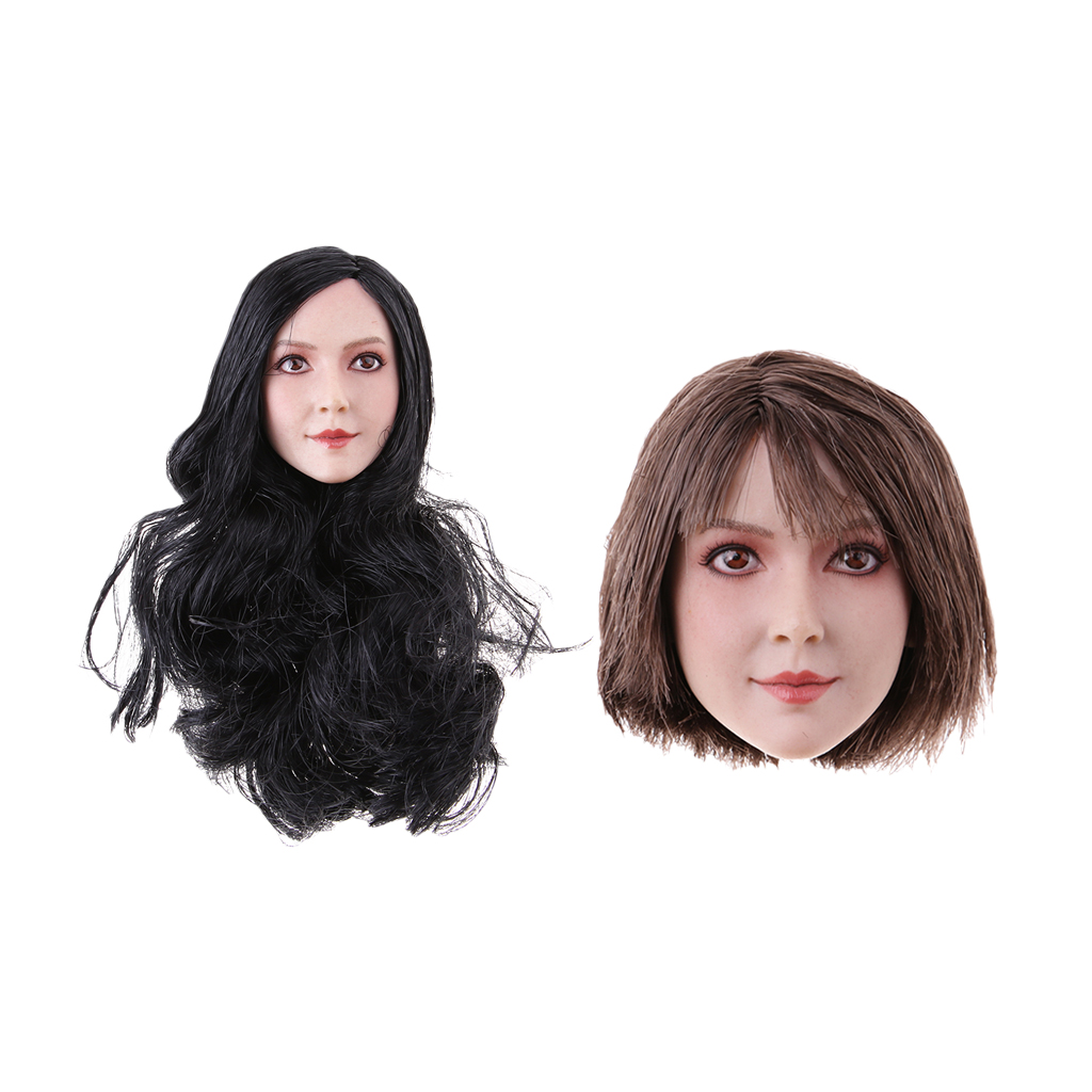 1/6 Girl Doll Head Sculpt Glamour Hair Sculpture for 12inch Phicen Kumik Action Figure kumik kmf029 1 6 comic version catwoman with two head shape12inch male doll set of end product
