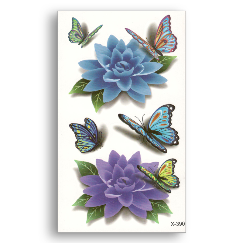 Fake Temporary Tattoo Colored 3D Flowers Butterfly Water Transfer Stickers Women Man Beauty Sexy Body Art Live Of Song X390