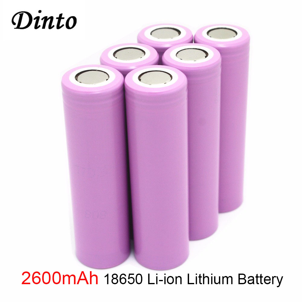 Dinto 4pcs for Samsung 26F 3.7V 2600mAh Rechargeable 18650 Li-ion Battery ICR18650 Batteries for Flashlight image