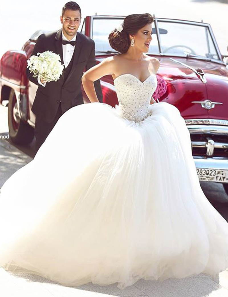 Aliexpress Buy Hochzeitskleid Crystal Beaded Corset Top Tulle Ball Gown Wedding Dress Arabic Women Bridal Dresses Arab From Reliable