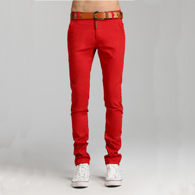 2017 New Arrival Men's Colorful Candy Color Red Green Yellow Slim Pants Men Skinny Fashion Pencil Trousers Pants