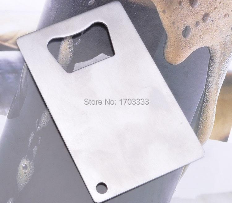 Personalized credit card sized bottle opener custom company logo metal typestainless steel colorsilver packingpolybag reheart Choice Image