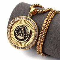 High Quality Gold Plated Stainless Steel Free Mason G Necklaces Iced Out Bling Bling Freemasonry Chains