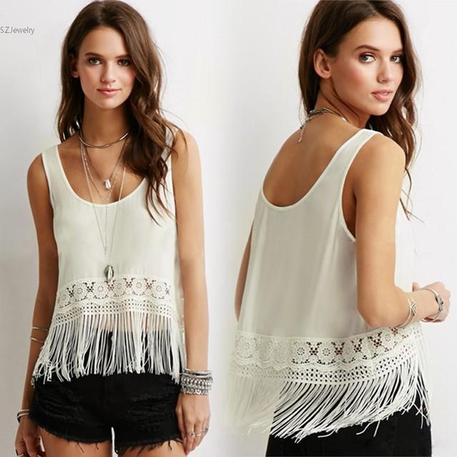 595fd6d41dea Stylish Ladies Tank Top Women Sleeveless Patchwork Shirt Fringe Hem Chiffon Crop  Tops White Camiseta White Shirt