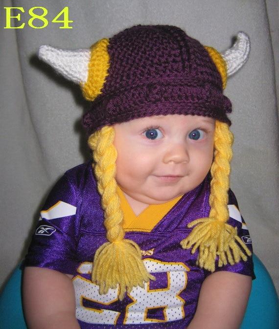 Newborn to Adult, with braids Funny Handmade Crochet Cartoon Viking Horn Hat Knitted Xma ...