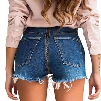 Verano caliente cremallera pantalones cortos vaqueros para mujeres culata de elevación shorts vaqueros con cremallera Mini Denim Pantalones de Jean De Denim Mujer
