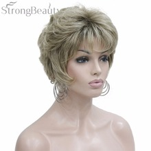 Strong Beauty Synthetic Fake Ombre Light Brown Short Curly Wigs With Bangs For Black Women Heat Resistant Natural Wig