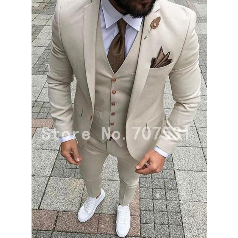 Beige Men Suit Groom Tuxedo Slim Fit 3 Piece Prom Style Suits Custom Costume Homme Blazer Terno Masculino Jacket+Pants+Vest