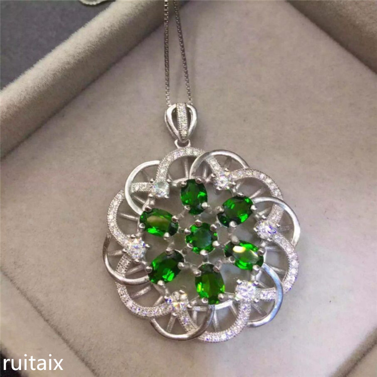 KJJEAXCMY boutique jewels 925 Pure silver natural diophanous diamond pendant necklace inlaid with sunflowers цена