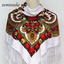 Luxury Brand Winter Russian Scarves For Women Square Scarf Shawl Print Floral Bandana Cotton Handkerchief Handmade Tassel Fringe