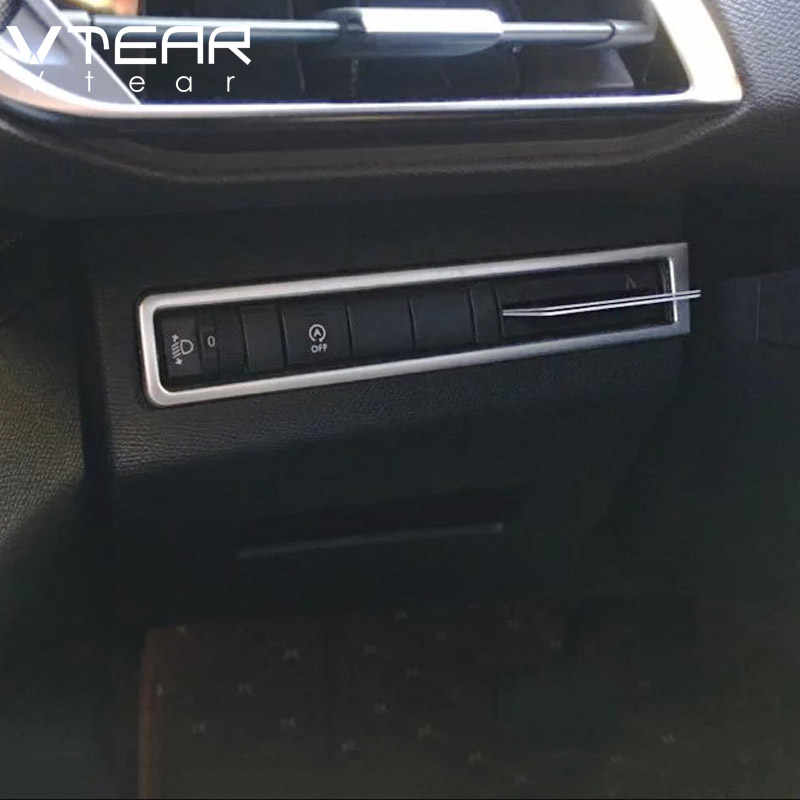 Vtear para Peugeot 3008 GT 5008 GT accesorios Interior botón de ajuste para la luz marco ABS cromados 2017, 20018, 2019, 2020