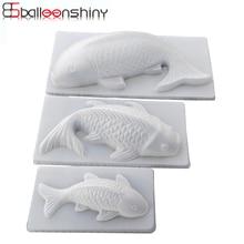 BalleenShiny DIY 3D Koi Fish Carp Mold Plastic Jelly Handmade Sugarcraft Mold Cake Pudding Chocolate Mould Baking Tool Tablewrae