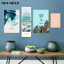 Scandinavian Style Canvas Painting Blue Leaf Cactus Wall Art Sea Landscape Travel Poster for Living Room Decoration Pictures