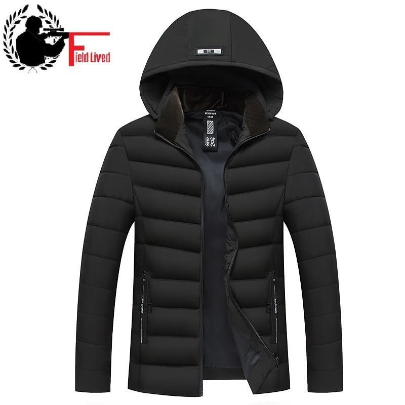 Windbreaker Men's Warm Jacket Hooded   Parka   Cotton Padded Men 2019 New Hoodie Coat Male Detachable Hood Standing Collar Outwear