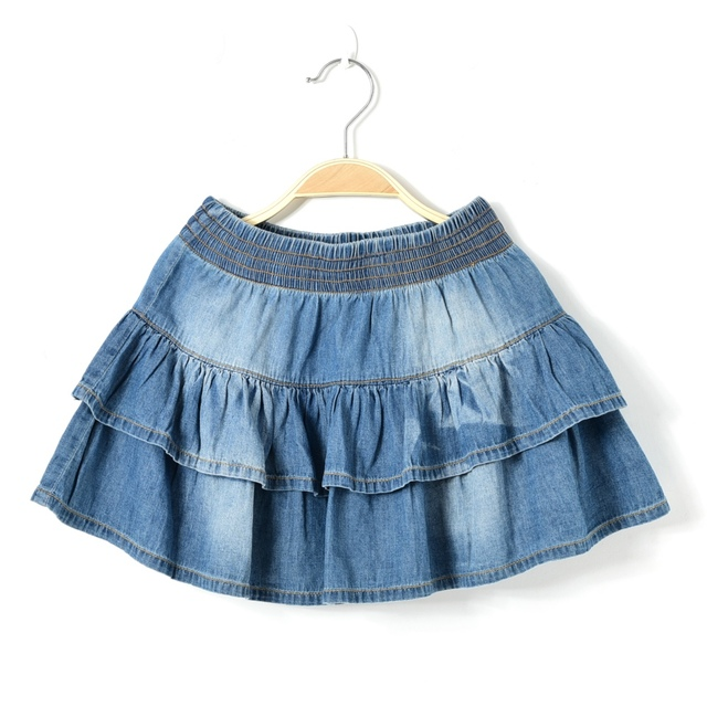 2017 new summer style girl denim tutu mini skirts children layered jeans  kids clothes pettiskirt 8 10 12 14 16T years old free shipping worldwide a6cdffeb4802