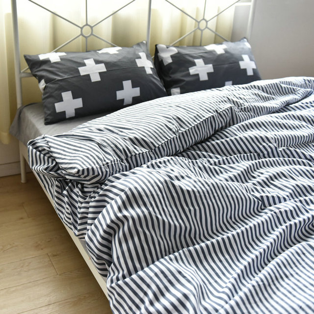 cotton stripe bedding set quilt cover twin cross white stripe duvet