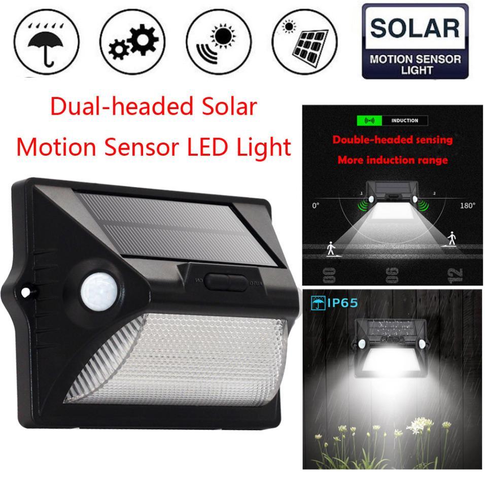 MUQGEW 12pcs 5050 Solar Panel New Dual-headed Solar Motion Sensor LED Light Garden Waterproof Lamp Brightness