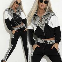 Snake Skin Print Tracksuit Women Zipper Sweatshirt Tops + Pants Suit Two Piece Sets Fashion Casual Sportswear Female Set Suits