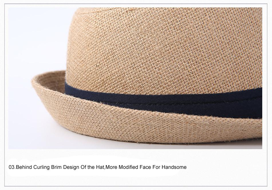 2a4dbcdb6a740d FS Summer Blue Yellow Panama Hat Beach Women 100% Linen Fedora Hats ...