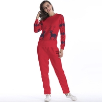 Deer Print Women Winter Suits Christmas Tracksuit Women Two Piece Set Plus Size 4 Colors 2
