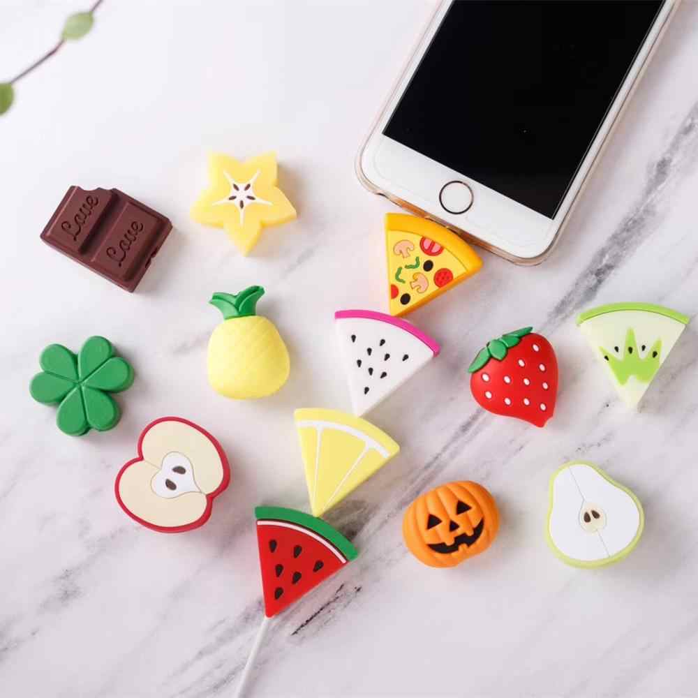 Cute Fruit Data Line Protector Candy Color Cover For Iphone 6 6S SE 7 8 Plus X XS Max Case Phone Accessories