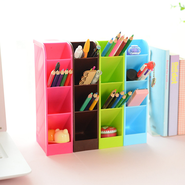 Buy 4pcs set candy color office desk organizer stationery holder - Desk stationery organiser ...
