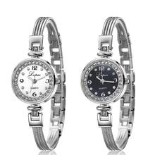 Luxury Women's Rhinestone Round Dial Bracelet Quartz Analog Dress Wrist Watches