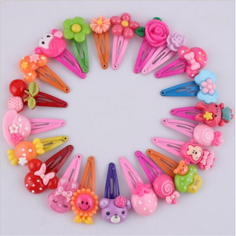 Korean Hairclips Cute Flower Hair Accessories Resin Cartoon Kids Headdress Candy Color Handmade Hairpins For Girls 10Pcs