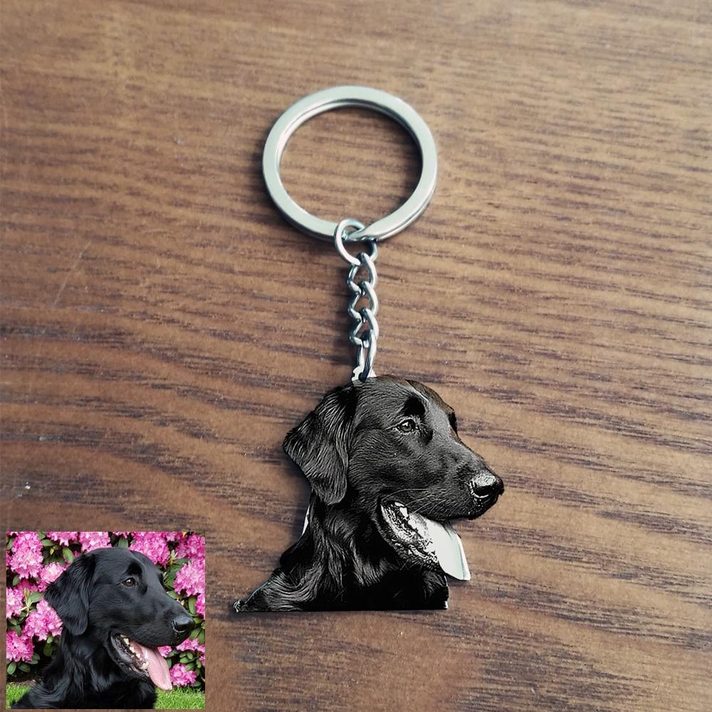 Custom Pet Photo Keychain Engraved Name Stainless steel Dog Tag Key Chain For Women Men Memorial Best Christmas Gift