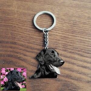 Personnalisé animal Photo porte-clés gravé nom en acier inoxydable chien Tag porte-clés pour femmes hommes mémorial meilleur cadeau de noël
