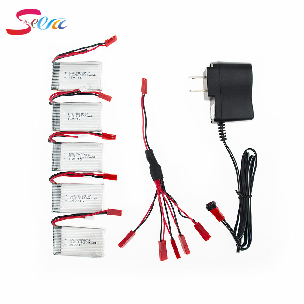 Lipo Battery 3.7V 1200mAh 5pcs Charger With 5 in1 Cable Set For Syma X5SW X5SC M18 H5P Drone RC Battery Quadcopter Parts Top 3pcs battery and charger with 1 care 3 conversion cable for syma x8sw x8sc rc quadcopter accessories battery
