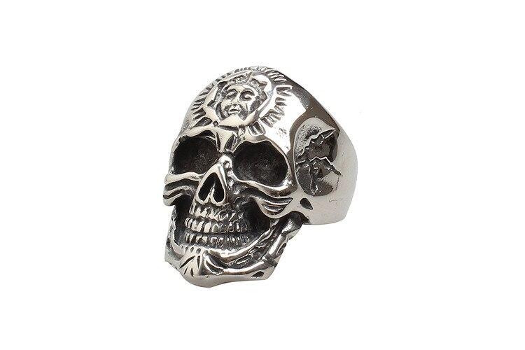 3.5 см широкая полоса панк Skull Ring Для мужчин в античной Нержавеющаясталь Готическая мода Для мужчин S ювелирные изделия бесплатная подарочна...