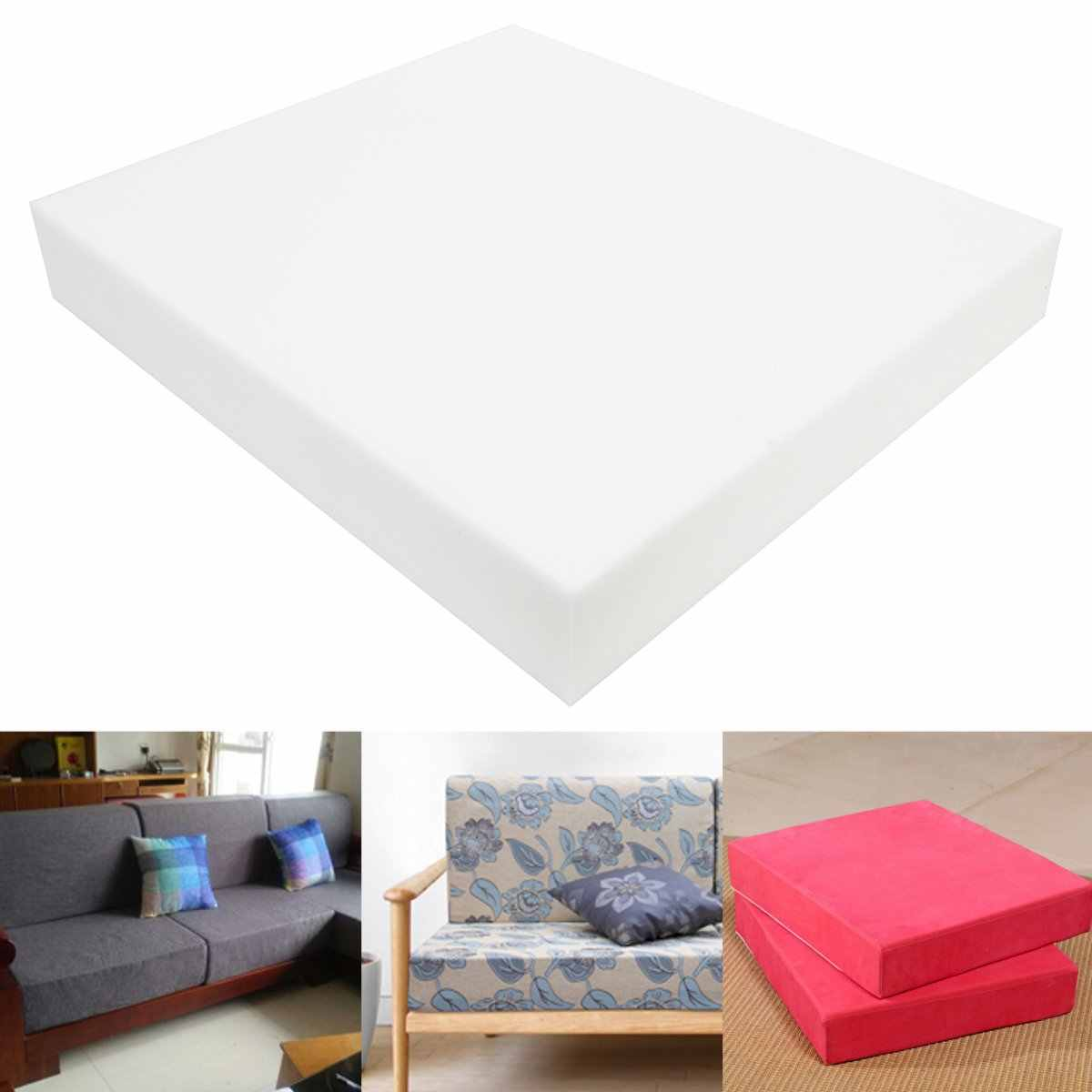 Square High Density Seat Foam White Cushion Sheet Upholstery Replacement Pad High Density Premium Chair Cushion Seat Pad 12 Inch